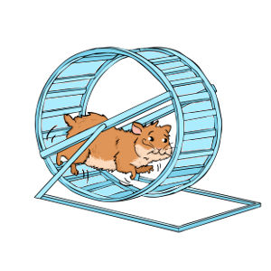 Hamster running in a hamster wheel